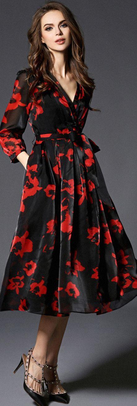 Lantern Sleeves Floral Belted Wrap Dress