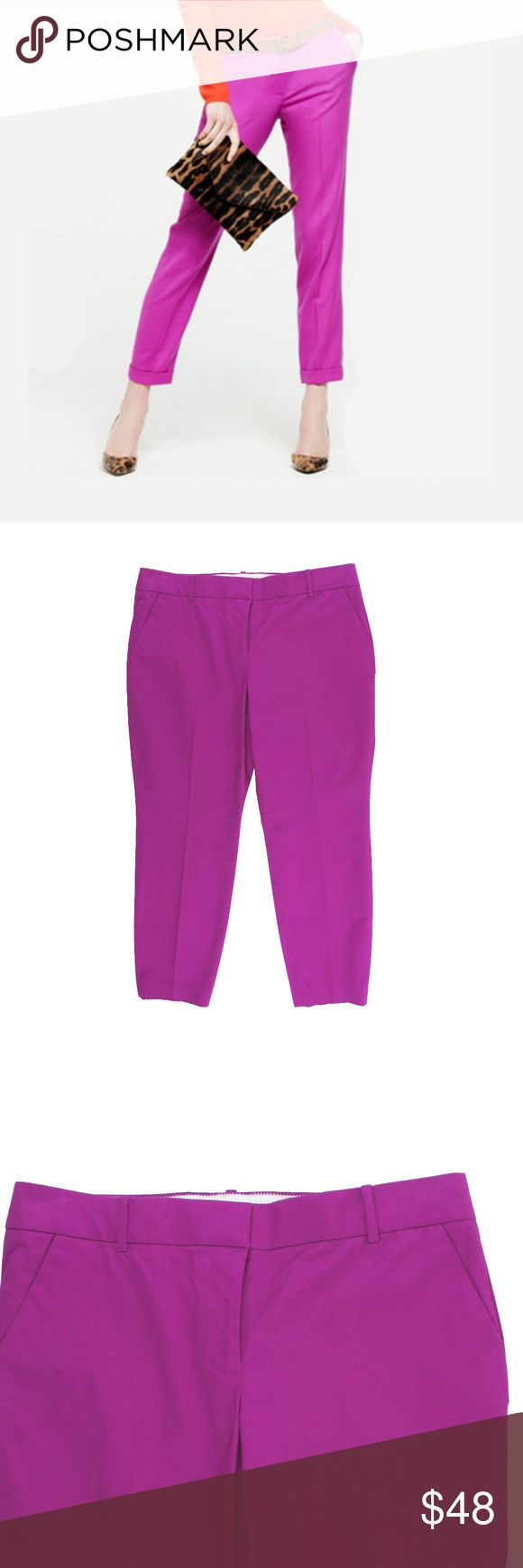 """New JCREW Cafe Capri Pants in Bright Dahlia Pink Size -12  These new bright dahlia (which is like a pinkish purple) cafe capri pants from JCREW feature:  The classic cropped pant in crisp, clean cotton—your closet needs at least one pair.      Cotton with a hint of stretch.     Machine wash.     Import.     Fitted through hip and thigh with a cropped straight leg.  Measures:   Waist: 36""""  Rise: 10""""  Hips: 44""""  Inseam: 27"""" J. Crew Pants Capris"""