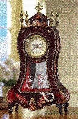 Marvelous SHABBY CHIC Musical Jewelry Box Desk Clock