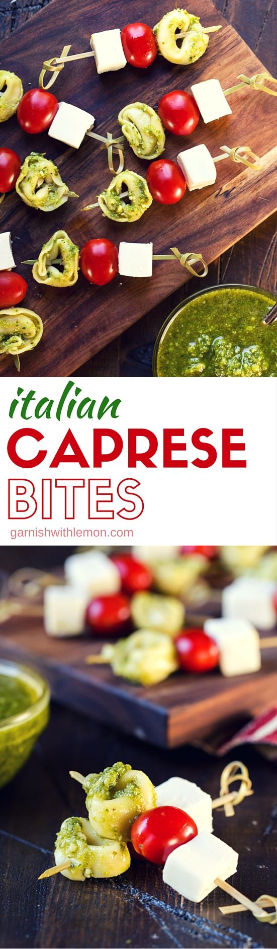 These 4-ingredient Caprese Bites are the easiest appetizer I've made in a long time! Plus everyone loves the flavors of fresh tomatoes, mozzarella, pesto and tortellini.