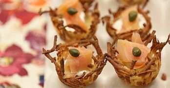 hashbrown potato nests w/smoked salmon.  love this idea & super low in calories!