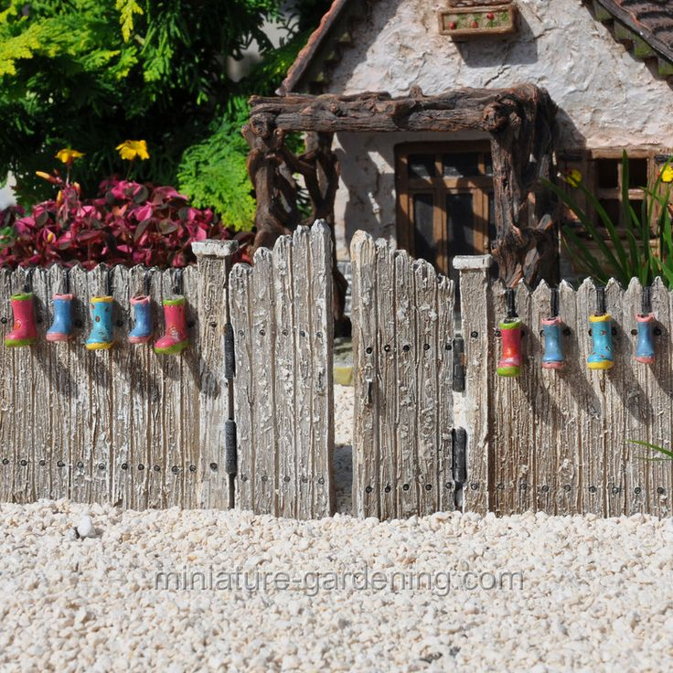Rain Boots Planter Fence And Gate. Miniature Fairy GardensMini ...