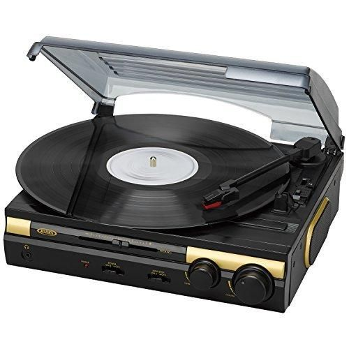 Jensen JTA-230G 3 Speed Stereo Turntable with Built in Stereo Speaker System Supports Vinyl to MP3 Recording USB MP3 Playback and RCA Output Speed Adjustment (Limited Edition Gold)