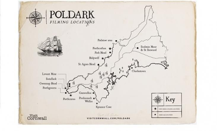 Poldark Locations... The first series of Poldark was an international hit and with the second instalment airing this September, there is no better time to experience Poldark's Cornwall. Catch a glimpse of Cornwall on screen, and discover the glistening blue waters, lush countryside and craggy cliffs that sashayed from the background to become the lead star of Poldark.  Go behind the scenes and discover the towns and beaches that took a turn in the spotlight. ..