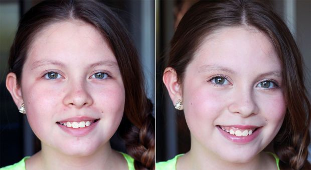 Age-appropriate tween makeup before and after. [Great tutorial for a nice simple look. Make up like this at this age would be okay for family pictures or weddings, etc] FULL DISCLOSURE: I did not start wearing make up as a daily thing to school until I was 16 and hopefully I can guide my daughters in the same way. [This tutorial is also great on adults to help you look younger!]