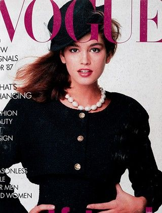 January 1987  Cindy Crawford  One of spring's new looks is Audrey Hepburn in Funny Face: key gamine in a key fashion film. It's Jean Seberg and Shirley Maclaine too. The current clues to gamine glamour are in a small head, strong swept brows, brightly lipsticked mouth, small waist and coltish limbs, in pure aura of Givenchy – vast hat, impenetrable dark glasses, crisp little tailleur, and in Paris beat – black stove pipes, matelot stripes and ballet pumps.