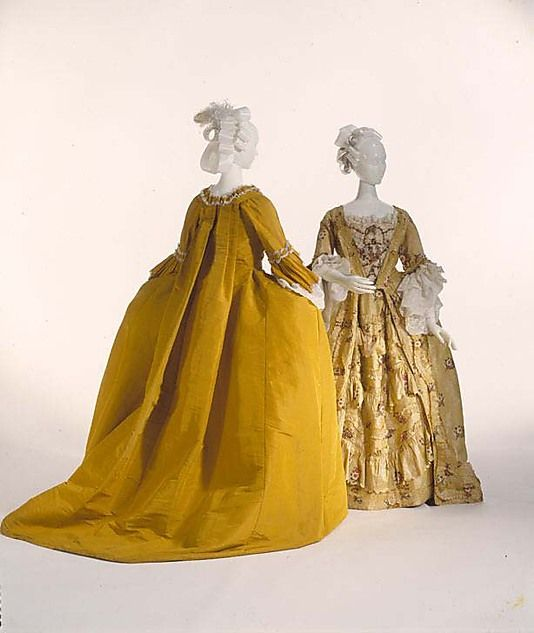 The color reminds me of the dress on the cover of the book!    Dress (Robe à la Française) ca.   1775, French, silk. Accession Number: C.I.64.31.1a, b. Metropolitan Museum of Art