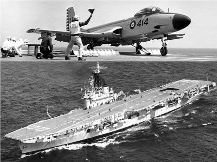 RCN McDonnell Banshee jet fighter and HMCS Bonaventure.