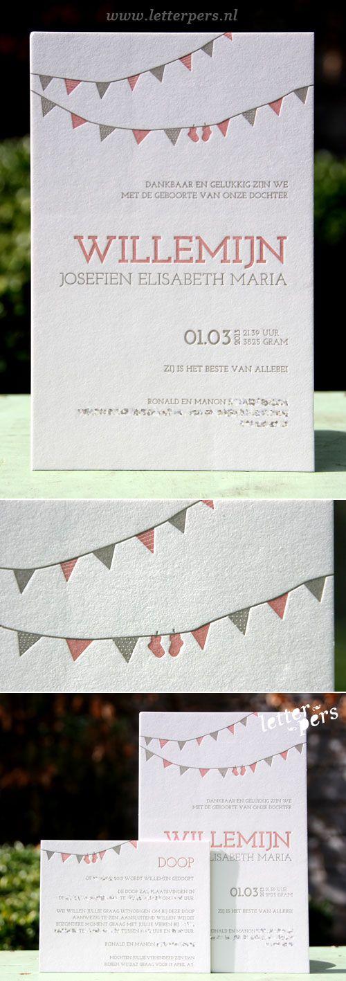 letterpers_letterpress_geboortekaartje_willemijn_slingers_sokjes_roze_grijs_doopkaartje