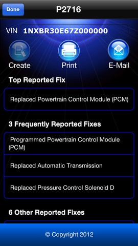 iPhone Screenshot of the Repair Report Feature. Scan your vehicle, get the trouble code then find out how to fix it! Right from within the app. You can even print or email the report.