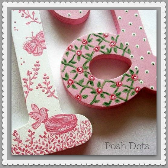 Nursery letters, Hand painted Wooden Wall Letters, Custom Painted, Ready-to-Hang at poshdots.etsy.com