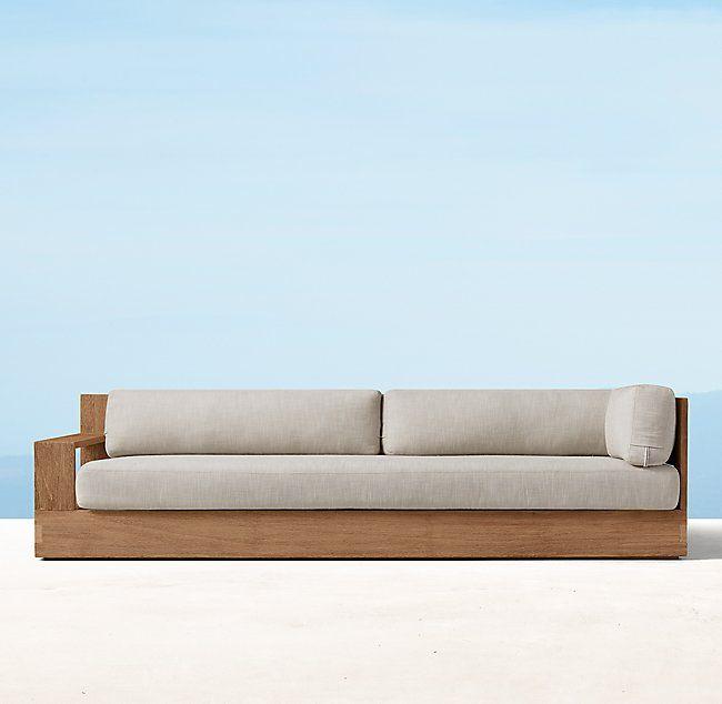 Marbella Teak Three Seat Left Right Arm Sofa Cushions Cushions