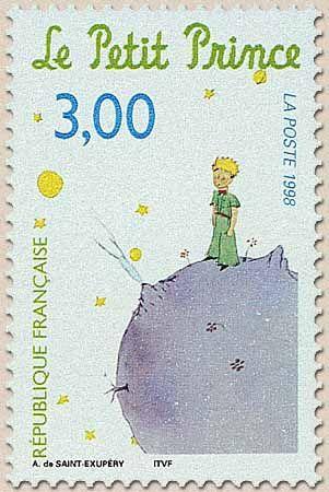 """post stamp. Antoine de St. Exupéry's """"Le petit prince"""".  """"Dessinez-moi un mouton!"""""""