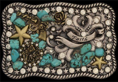 """Ladies Western Belt Buckle Faith,Turquoise Stones and Crystals by 3D Belt Company. Save 21 Off!. $37.99. Ladies Western Belt Buckle Faith,Turquoise Stones and Crystals Brown patina tone rectangular buckle with burnished gold & silver tone motifs, turquoise tone stones, & clear crystals Measures approximately 3 1/2"""" x 2 1/4"""" Silver Strike Turquoise Bullrider Ladies' Buckle"""