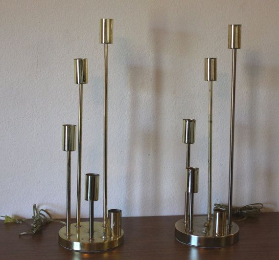 pair of vintage mid century modern gold brass 5 arm space age tall table lamps
