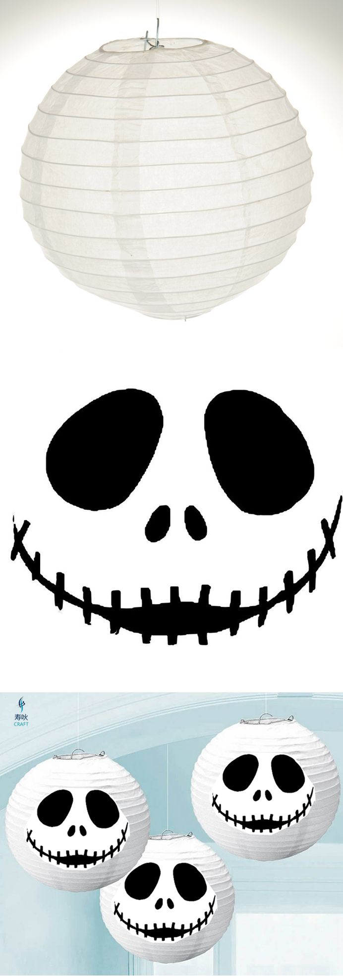 Buy white paper lanterns at any party store. Print out Jack Skellington pumpkin carving pattern (also pinned here). Cut out pattern. Tape or glue to lanterns. Instant Jack Skellington paper lanterns! (You can also light them up with string lantern lights). Halloween with Tim Burton ~~ Halloween Party Decorations & Ideas