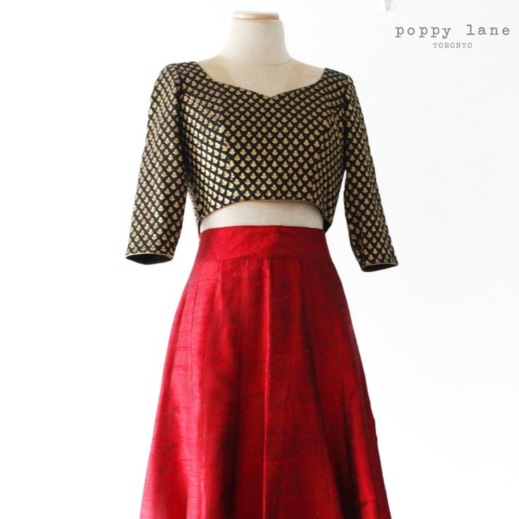 Scarlette Red Raw Silk Lengha Skirt with Black Chanderi Blouses. Shop now at poppylane.ca