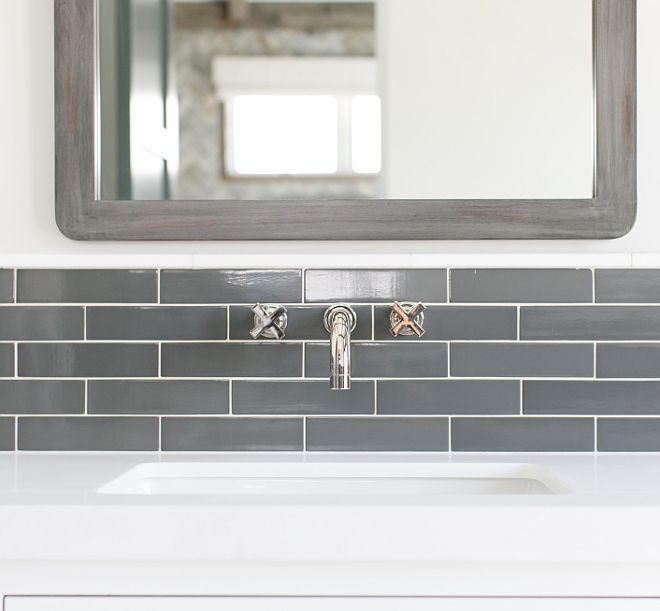 MASTER BATH-WALL MOUNT SINK FAUCET-KOHLER PURIST Modern Family Home with Neutral Trendy Interiors