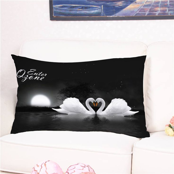 Merveilleux Cute Love White Swan Animal Printed Cushion Cover Cotton Pillow Case For Sofa  Bed Home Wedding