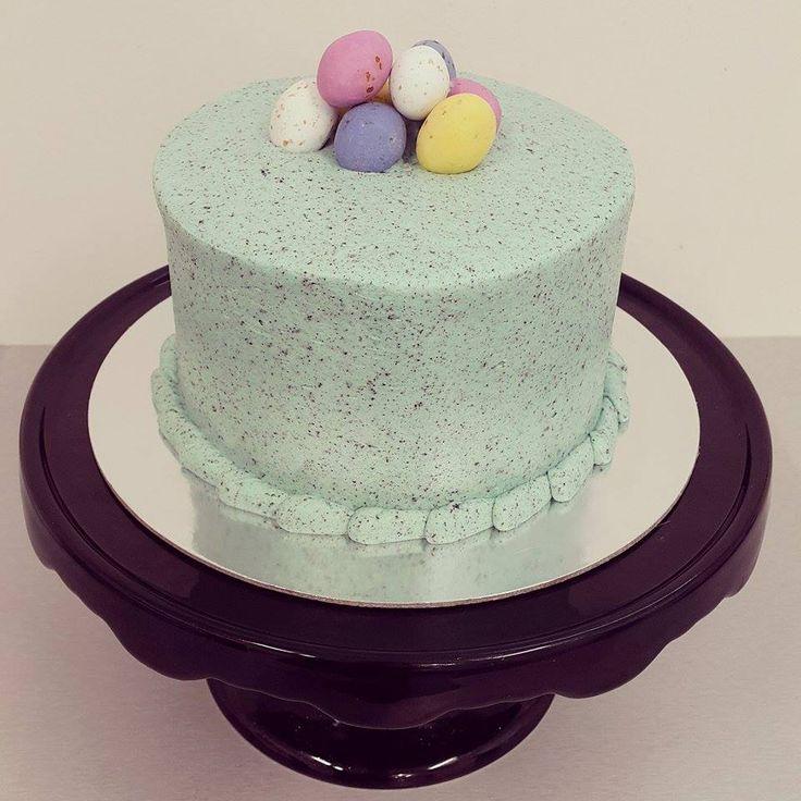 Speckled Smooth Blue Easter Egg Cake