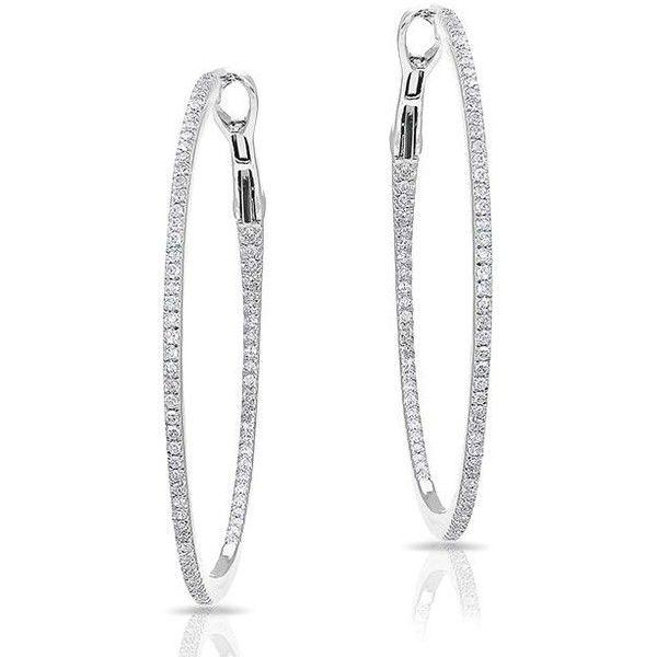 Anne Sisteron  14KT White Gold Diamond 1 1/4 Hoop Earrings (£1,170) ❤ liked on Polyvore featuring jewelry, earrings, accessories, white, white diamond jewelry, earring jewelry, diamond earring jewelry, white gold jewelry and hoop earrings