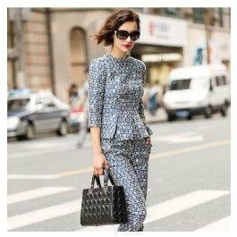 Damen Business Hosenanzug in Marine Blau Hose Sweater im Set