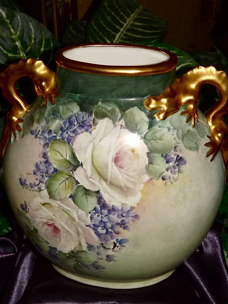 Limoges Fabulous Gold Dragon Handled Vase with White Roses and Lilacs from allthingslovelee on Ruby Lane