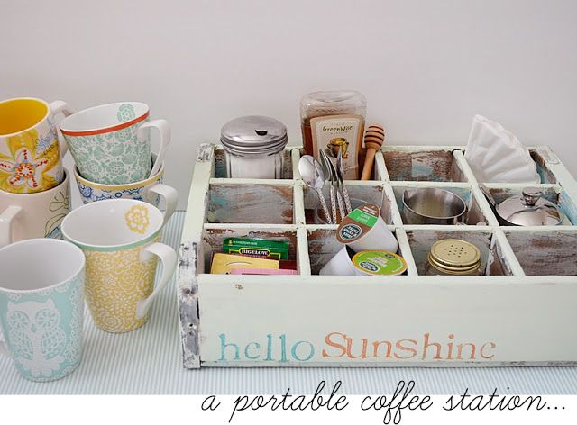 Portable coffee station. Great idea for morning coffee or afternoon tea on the porch. Ma Petite Valisette
