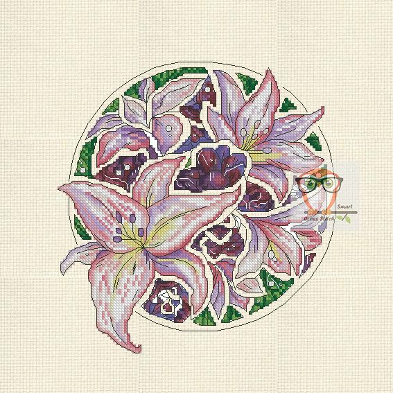 If you are looking for a unique floral project then try your stitchy hand at our botanica series. Fairy cross stitch flower patterns will make you happy. A new embroidery project is a tulip cross stitch. Lilly Botanica  #flower #purple #lilly #bright #violet #crossstitch #round #embroidery #modern #crossstitching #flora #l #pdf #pattern #SmartCrossStitch
