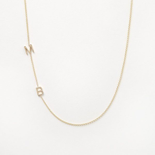 larger image of 14K Gold Asymmetrical Letter Necklace - A
