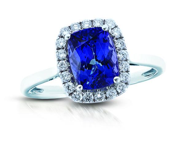 Pop Perfect Ring Diamontrigue Jewelry: 14K White Gold Tanzanite & White Diamond Ring