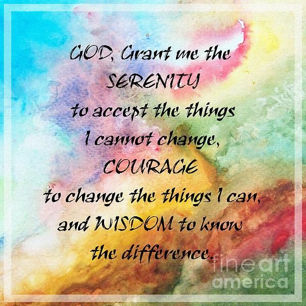 Serenity Watercolors by Barbara Griffin is a colorful watercolor image with the famous Serenity prayer.