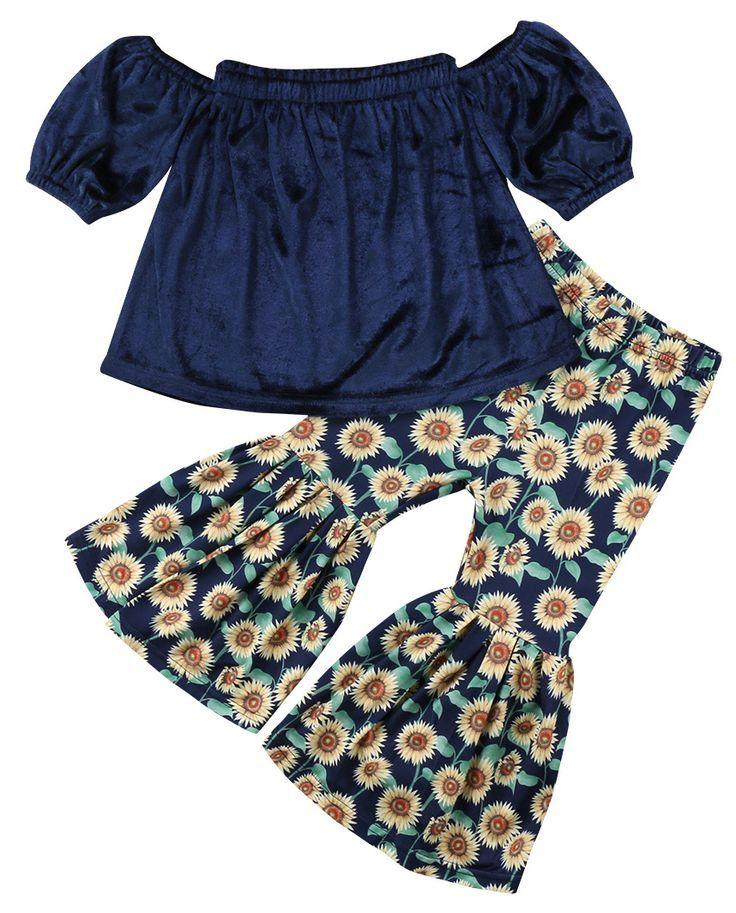 Baby Girl Sunflower Bell Bottoms Girl Flower Pants Boho Baby Clothes Baby Sunflower Pants Vintage Floral Bell Bottoms Hippie Baby Pants