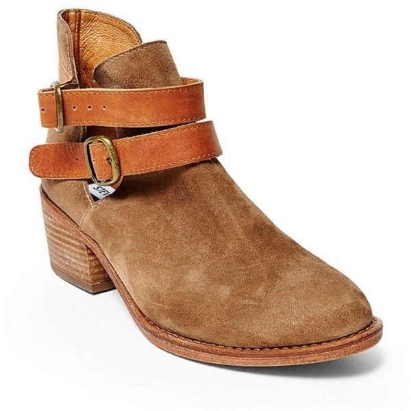 Steve Madden  Raskal Bootie ($77) ❤ liked on Polyvore featuring shoes, boots, ankle booties, ankle boots, steve madden, buckle ankle booties, buckle ankle boots and steve madden bootie