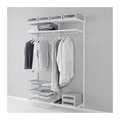 ALGOT Wall upright/shelves/rod, white