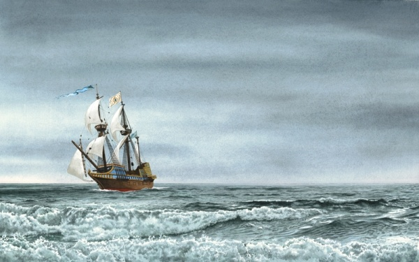 Coming Home: This is a photoshop collage of two watercolor paintings.
