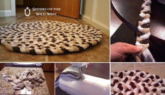 Braided Towel Rug:  Don't throw out those old Towels upcycle them into a fabulous Rug for your Bathroom Floor! They're easy to make and so much nicer to be standing on than the cold floor.  Tutorial via 'Impact Thrift Stores'