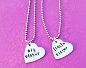 Big Sister, Little Sister, Two Necklace Set, Sister Jewelry, Hand Stamped Necklaces, Two Pieces, Mother's Day Gift, Sorority Sisters