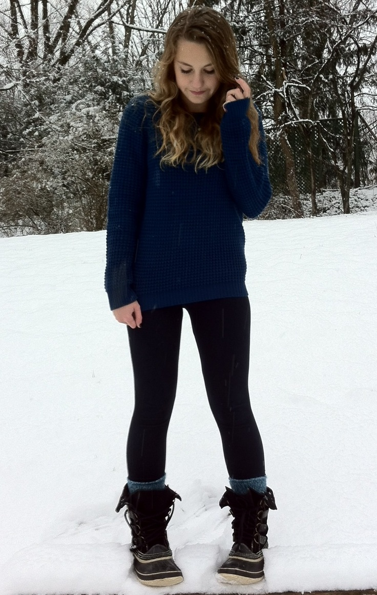 Favorite winter outfit! Comfy knit sweater, leggings, warm socks, and sorel snow boots