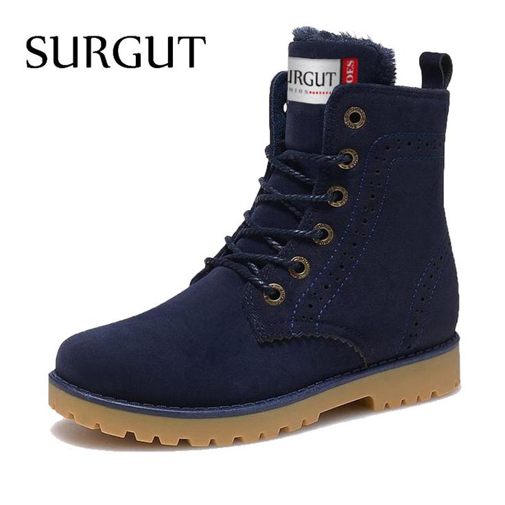 SURGUT Fashion Unisex Winter Boots Comfortable Ankle Men Boots Quality Leather Footwear Warm Fur Casual Shoes Lover Couple Boots