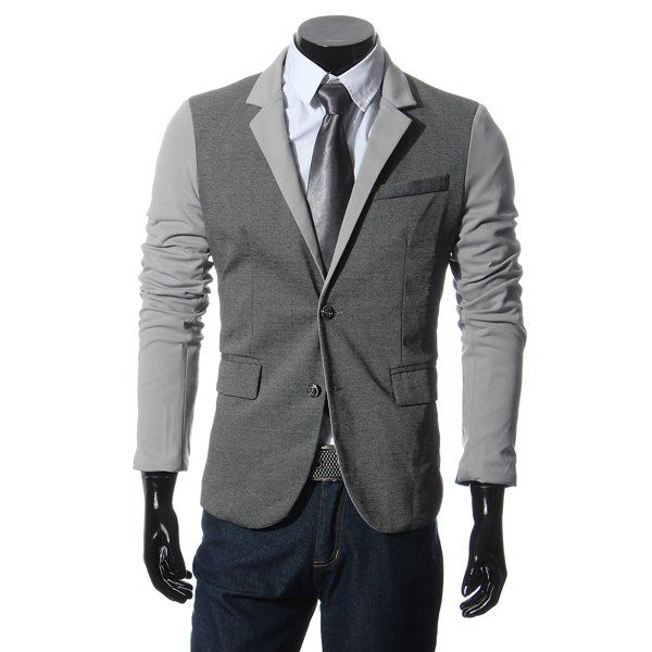 Mens Casual Suits Slim Fit Stitching Two Button Business Suits - US$24.99 sold out