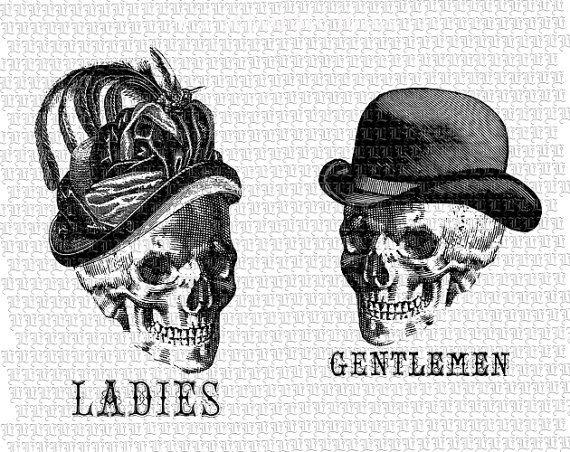 Toilettes signe Mesdames Messieurs crânes chapeaux victorienne Collage numérique feuille graphique Vintage Antique Clipart 2353
