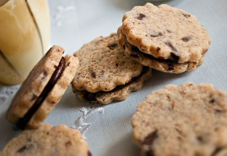 Hazelnut Sandwich Cookies with chocolate and jam Filling