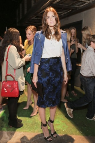 Mandy's center part: Mandy Moore, Biker Jackets, Reid Spring, Style Stars, Fashion Week, Pencil Skirts, Blue Leather, Celebrity Fashion, Moore Fashion
