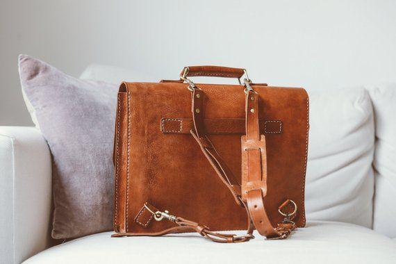 22898e22f080 Leather Messenger Bag Full Grain Leather Briefcase 15