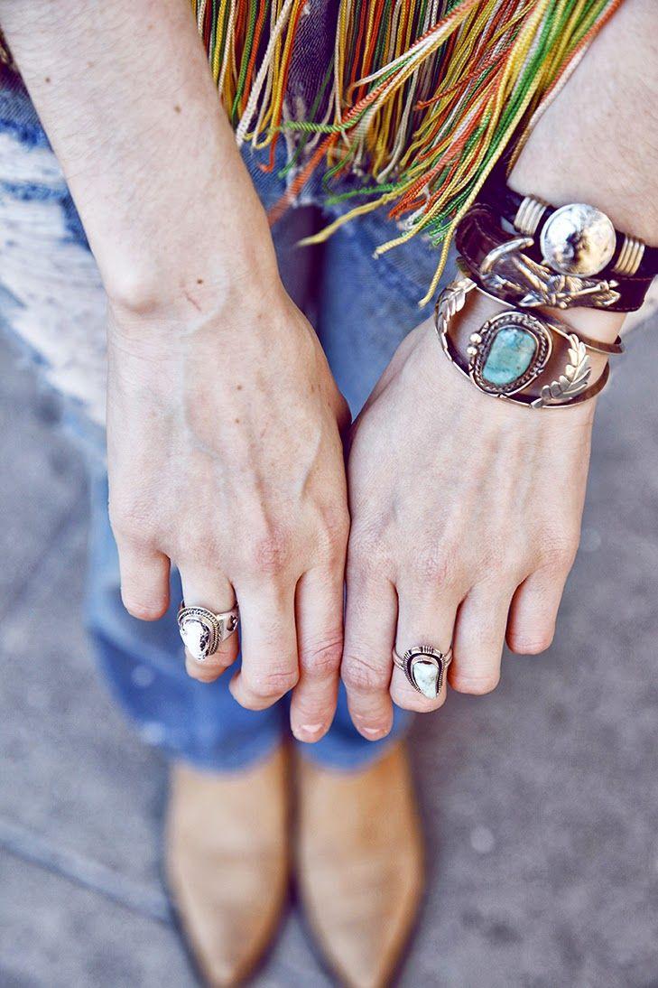 boho jewelry stacked bracelets, modern hippie fashion trends. For the BEST Gypsy looks & Bohemian chic style FOLLOW http://www.pinterest.com/happygolicky/the-best-boho-chic-fashion-bohemian-jewelry-gypsy-/