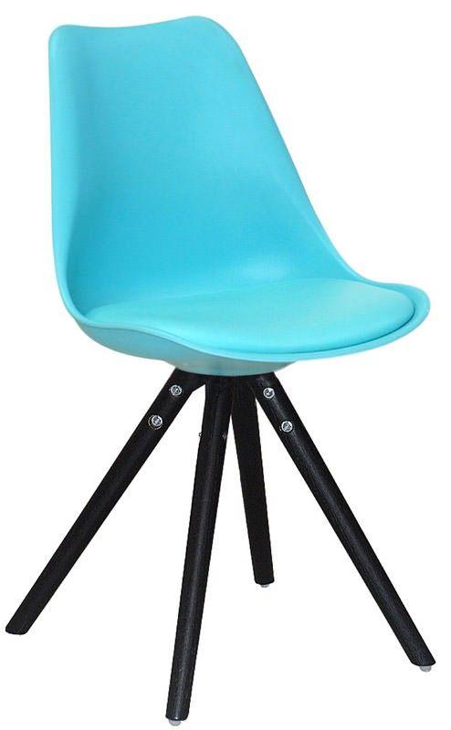 Clara Spisebordsstol blå - Funky blå spisebordsstol i en kombination af plastik og kunstlæder og med sorte stoleben. Spisebordsstolens skalform og polstrede sæde sørger for optimal siddekomfort. Tilfør et farve-twist til indretningen med denne flotte spisebordsstol.
