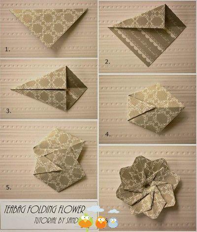 paper tea bag folding flower diy