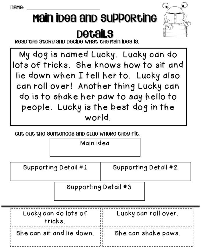 Latest main idea first grade worksheets Most Effective