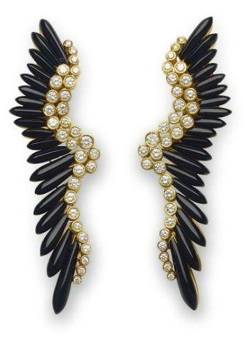 Vintage Onyx & Diamond Earrings